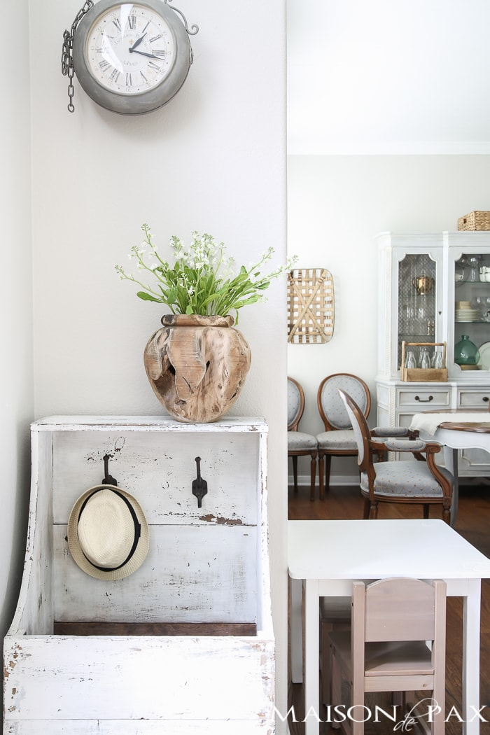 Raw teak vase... gorgeous! Beautiful summer home tour with lots of whites, raw wood tones, and simple summer decorating ideas