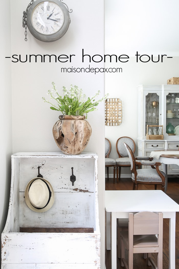 Beautiful summer home tour with lots of whites, raw wood tones, and simple summer decorating ideas- Maison de Pax