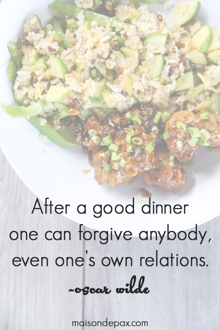 "Reclaiming Family Meal Time: ""After a good dinner one can forgive anybody, even one's own relations."" ~Oscar Wilde quote"