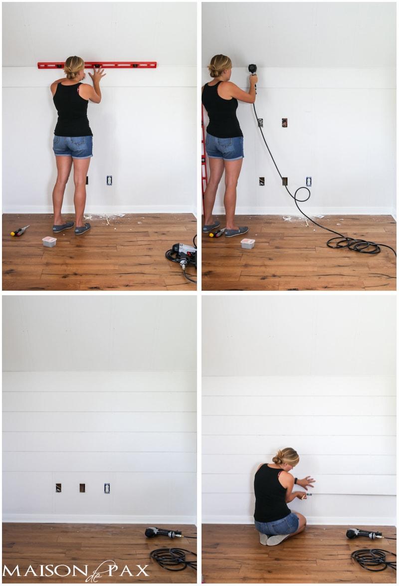 installing a shiplap accent wall | Maison de Pax