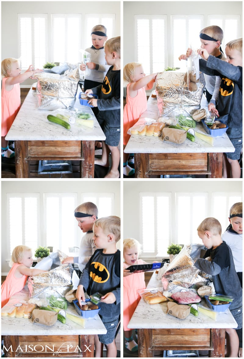 Reclaiming Family Meal Time: kids love opening and exploring the fresh ingredients from Blue Apron