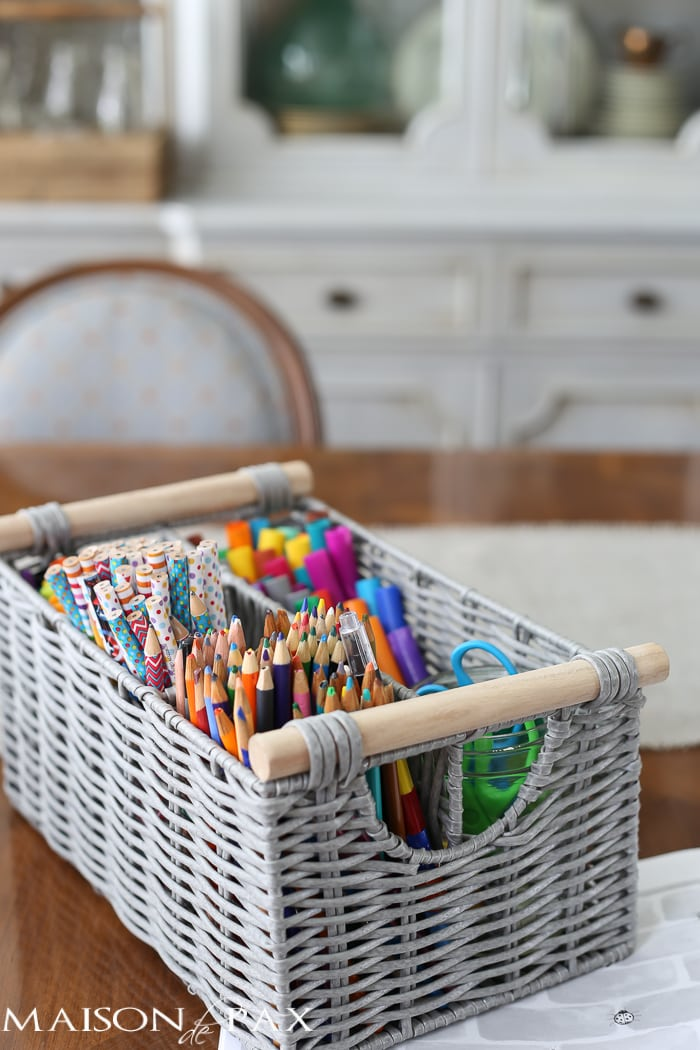 Brilliant! Tips for Organizing a Homework Space: use a silverware holder to organize pens, pencils, and markers