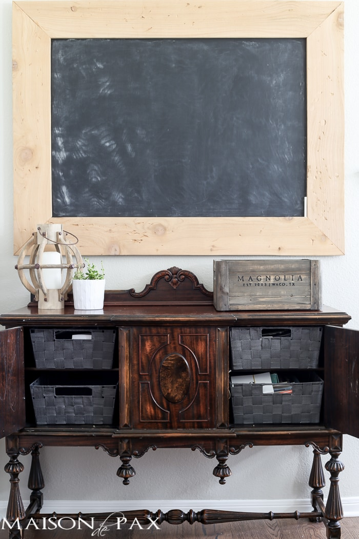 love that old school chalkboard! Tips for Organizing a Homework Space