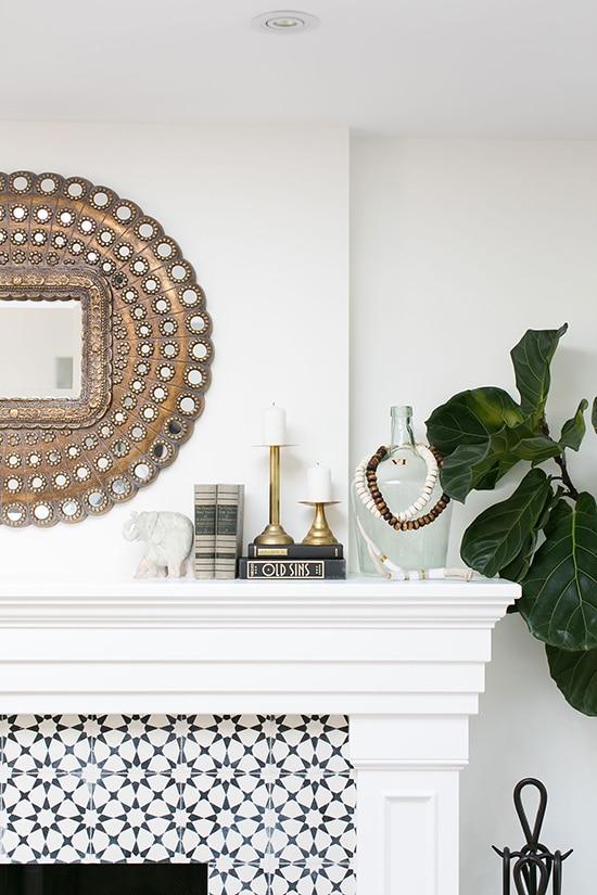 gorgeous white fireplace mantel- Maison de Pax