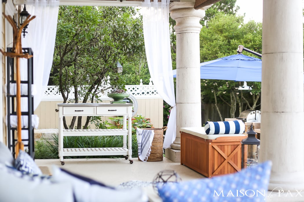 Outdoor Decorating Tips: combine storage and seating with beautiful box benches