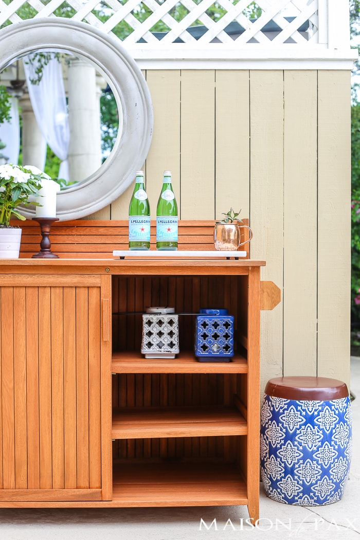 Outdoor Decorating Tips: ceramic lanterns bring beautiful colors and won't rust like metal ones