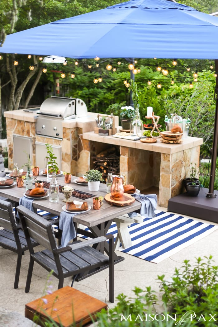Outdoor Decorating Tips: twinkle lights add instant ambiance