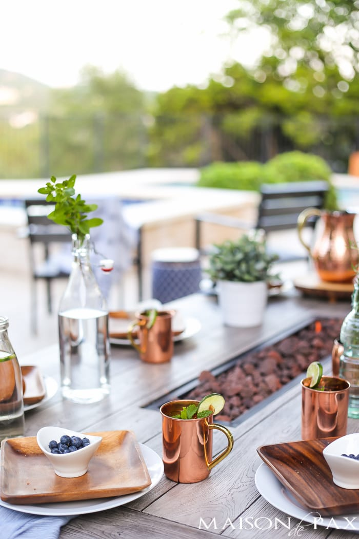 Outdoor Decorating Tips: don't be afraid to bring real dishes outside... It creates a beautiful scene!