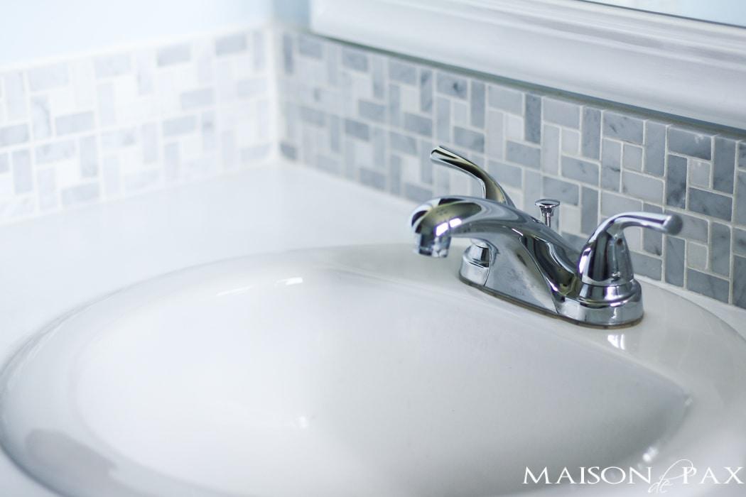 Marble tile backsplash- Maison de Pax