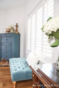 Blue and White Fall Decor in the Master Bedroom
