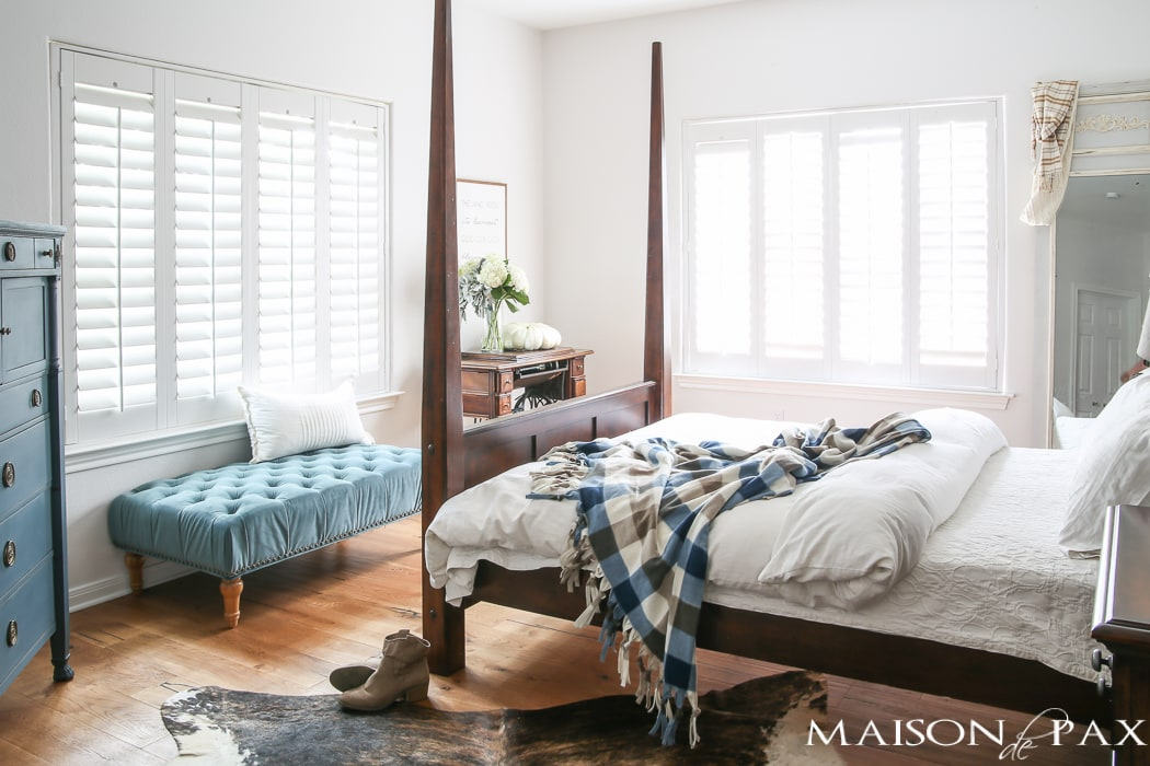 Blue and White Fall Decor in the Master Bedroom - Maison de Pax