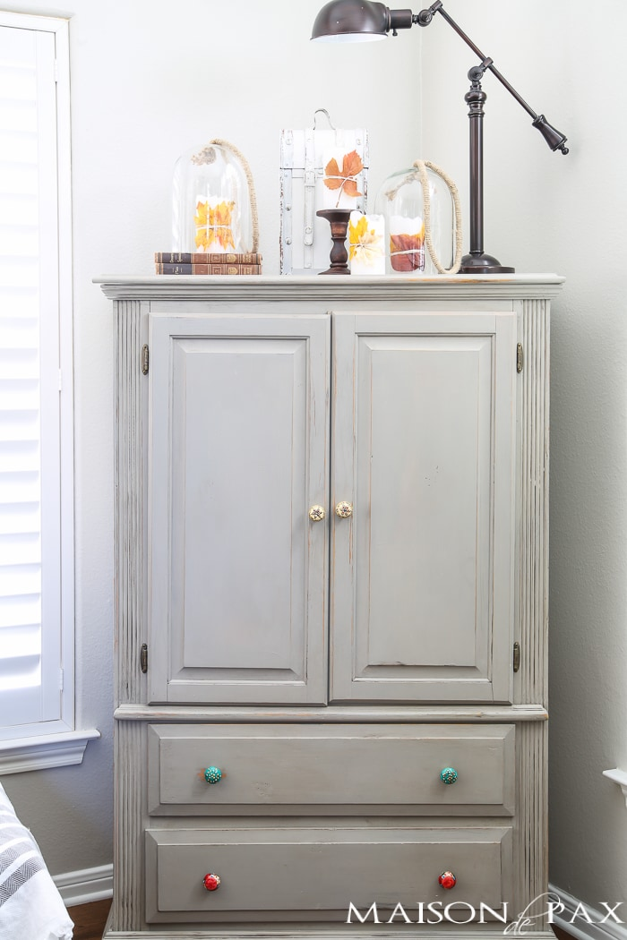 Family room storage with an armoire- Maison de Pax