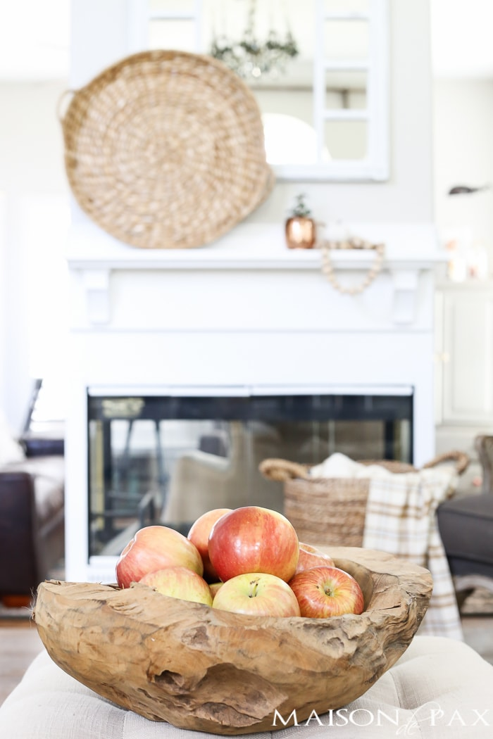 Apples in a wooden teak bowl- Maison de Pax