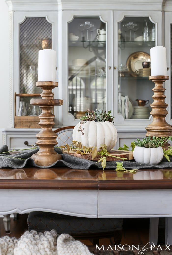 Fall decorating ideas in the Dining room with candlesticks and pumpkins- Maison de Pax