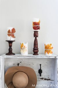 Fall Leaf Wrapped Candles