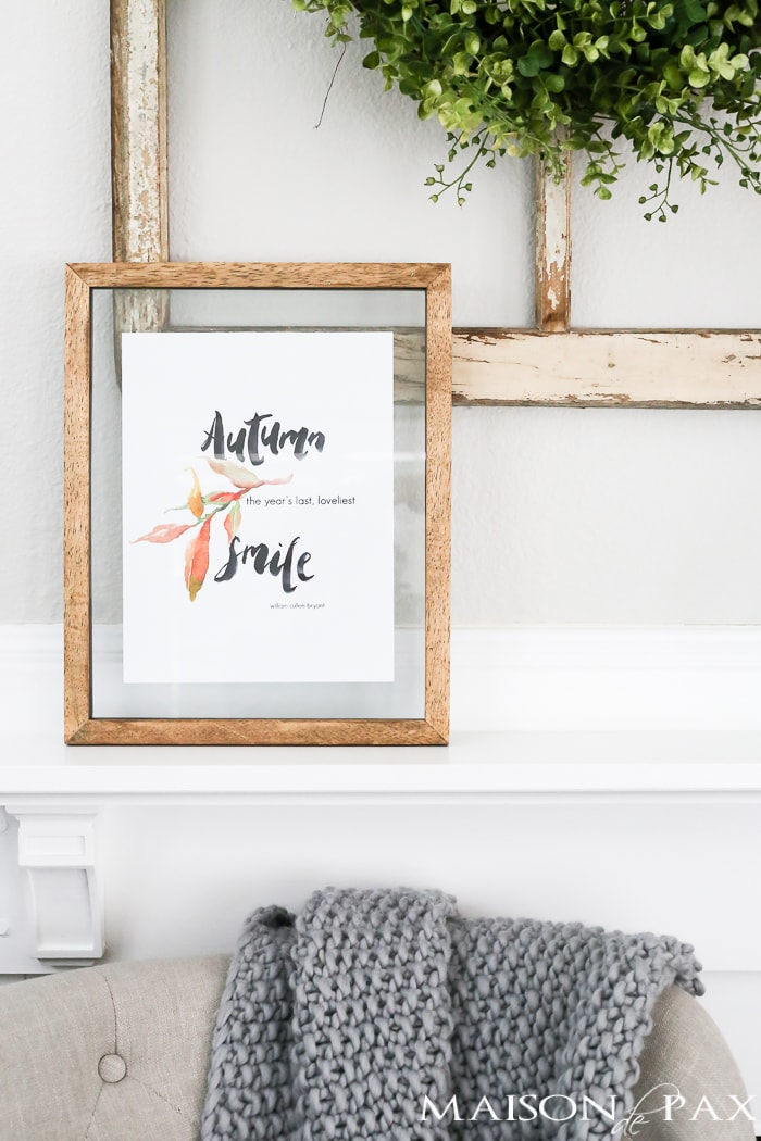 Want easy fall decor? Try this FREE fall printable with a beautiful watercolor of an autumn quote and leaves. Click here to download the printable and print on any color printer.