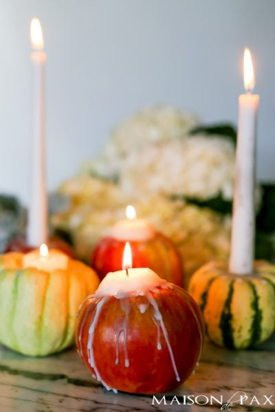 How to Make Mini Pumpkin and Apple Candles