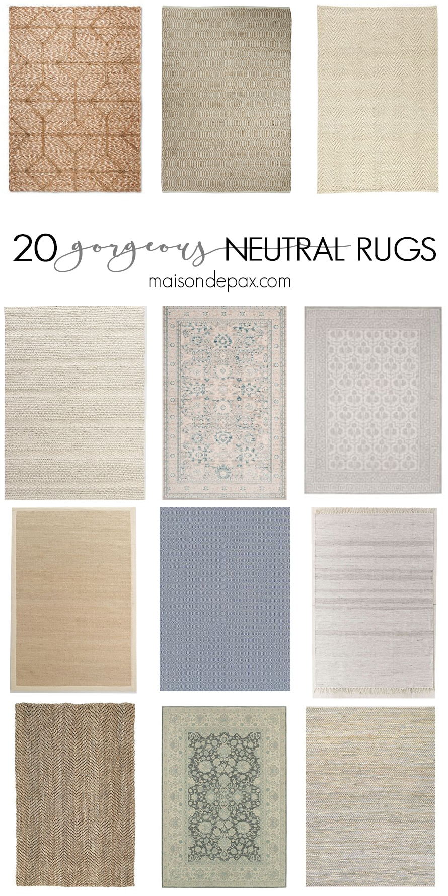20 gorgeous neutral rugs! From traditional to modern, these neutral rugs are a great complement to any space. Bring in texture and beauty with one of these great finds.