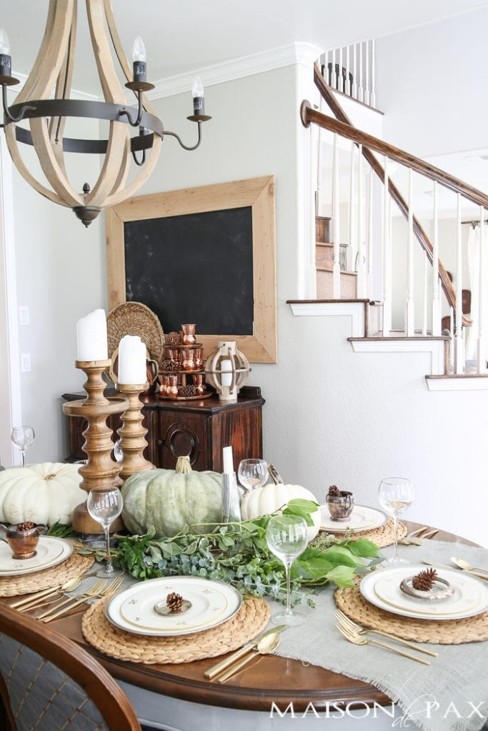 Fall dining room with tablescape- Maison de Pax