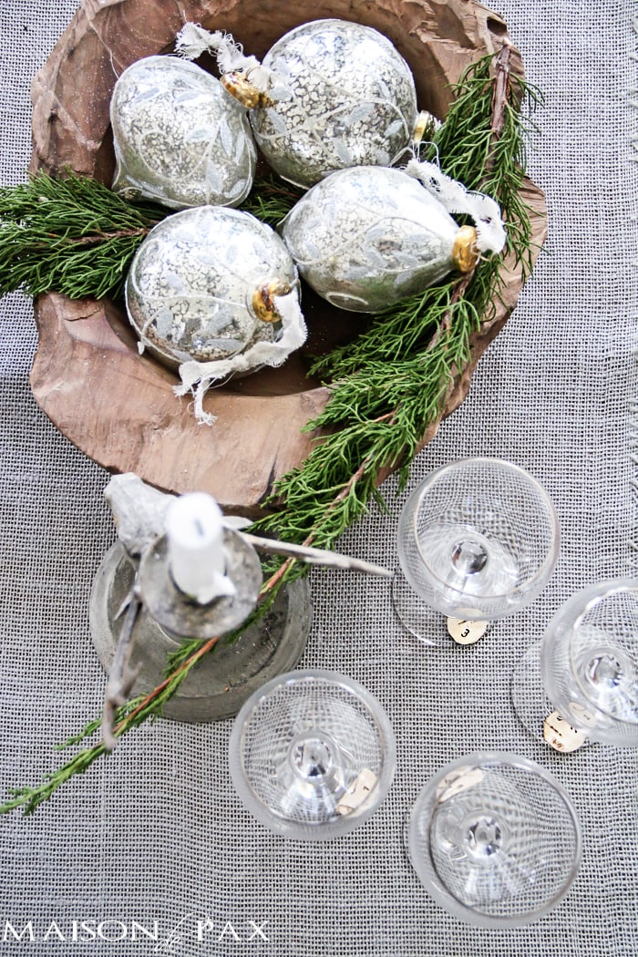 DIY Birch Bark Wine Charms: Entertaining for the holidays? These little numbered birch bark wine charms are the perfect accessory for your party so your guests can keep track of their glasses!