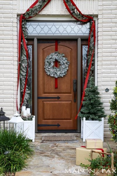Traditional Green and Red Front Porch for Christmas
