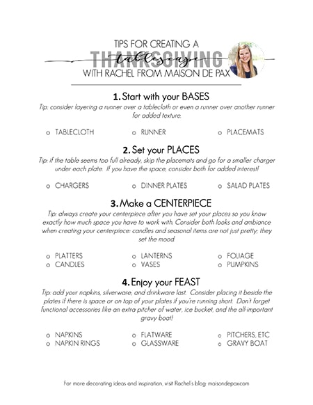 Love this checklist of everything you need for your Thanksgiving table! Great tips for decorating and designing your Thanksgiving table decorations.