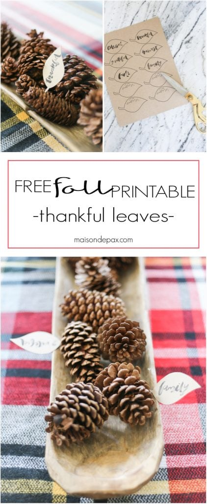 Free Fall Printable: these thankful leaves make an adorable and easy fall and Thanksgiving decoration, perfect for a centerpiece, place cards, or thankful tree! Download the free printable here.