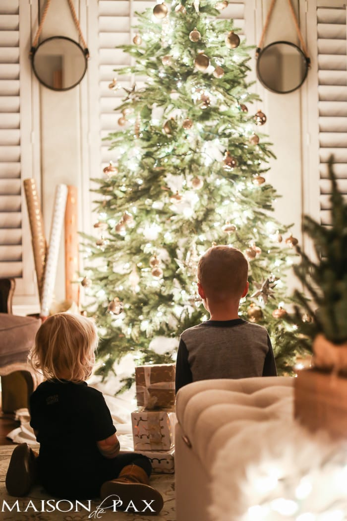 Kids in front of the Christmas Tree- Maison de Pax