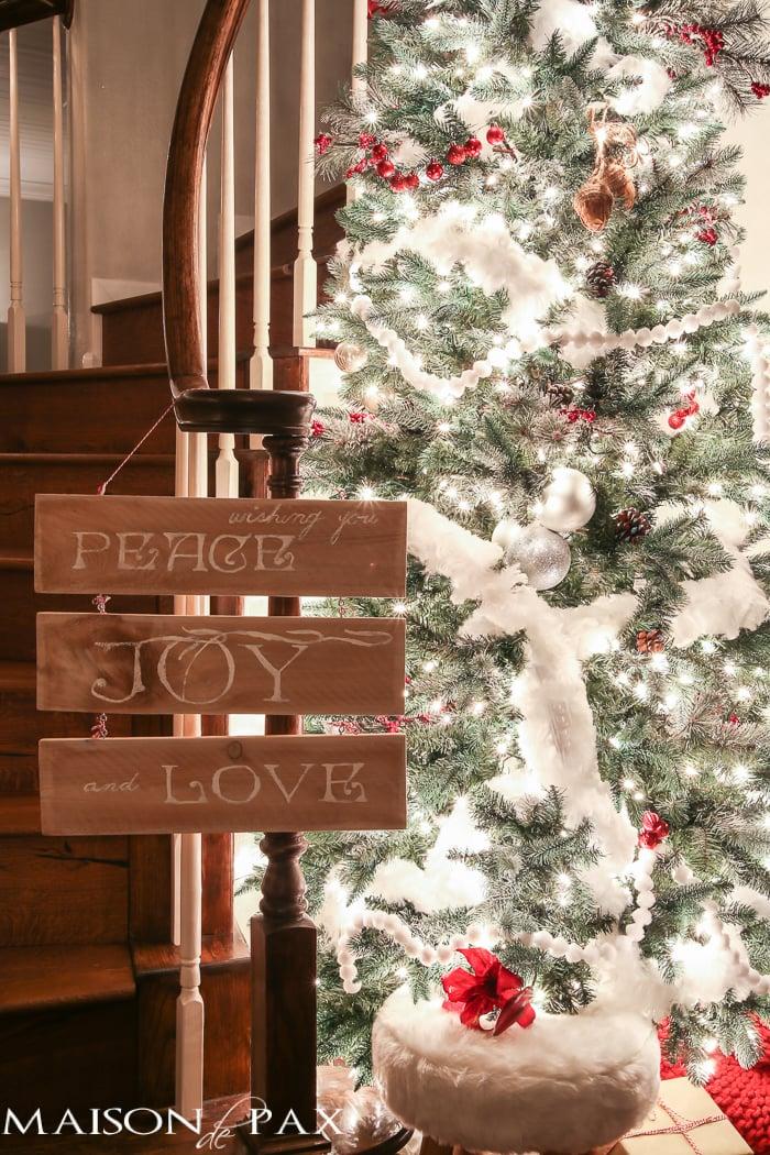 Peace Joy and Love sign for Christmas- Maison de Pax