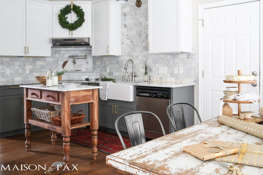 White and gray kitchen decorated for Christmas- Maison de Pax