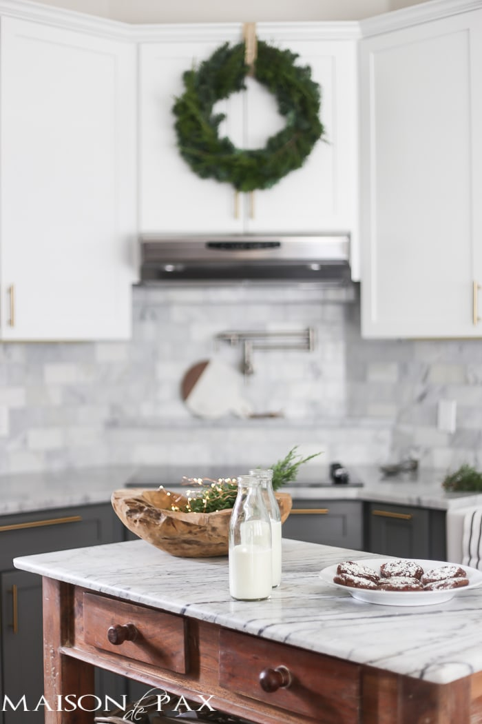 Christmas cookies and milk on marble island- Maison de Pax