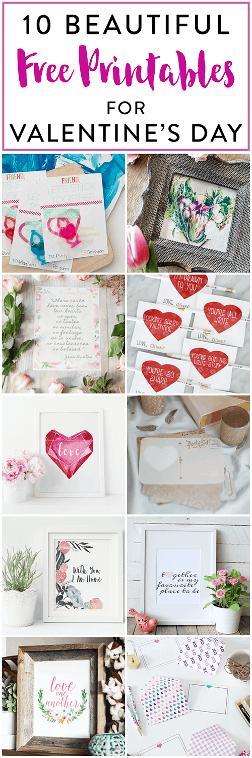 10 Beautiful free printables for Valentines Day!