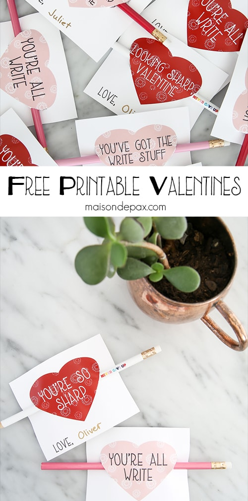 Adorable free printable valentines! These witty little candy-free valentines go on a pencil and come in 6 different sayings and 2 different colors!