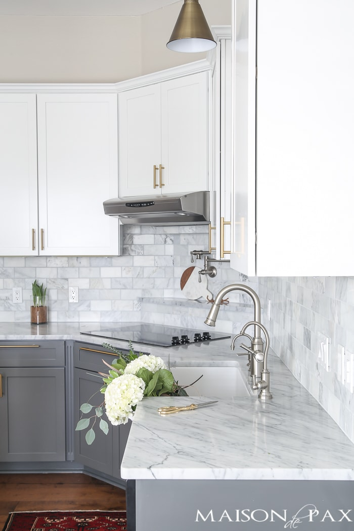 Marble countertops and subway tile- Maison de Pax