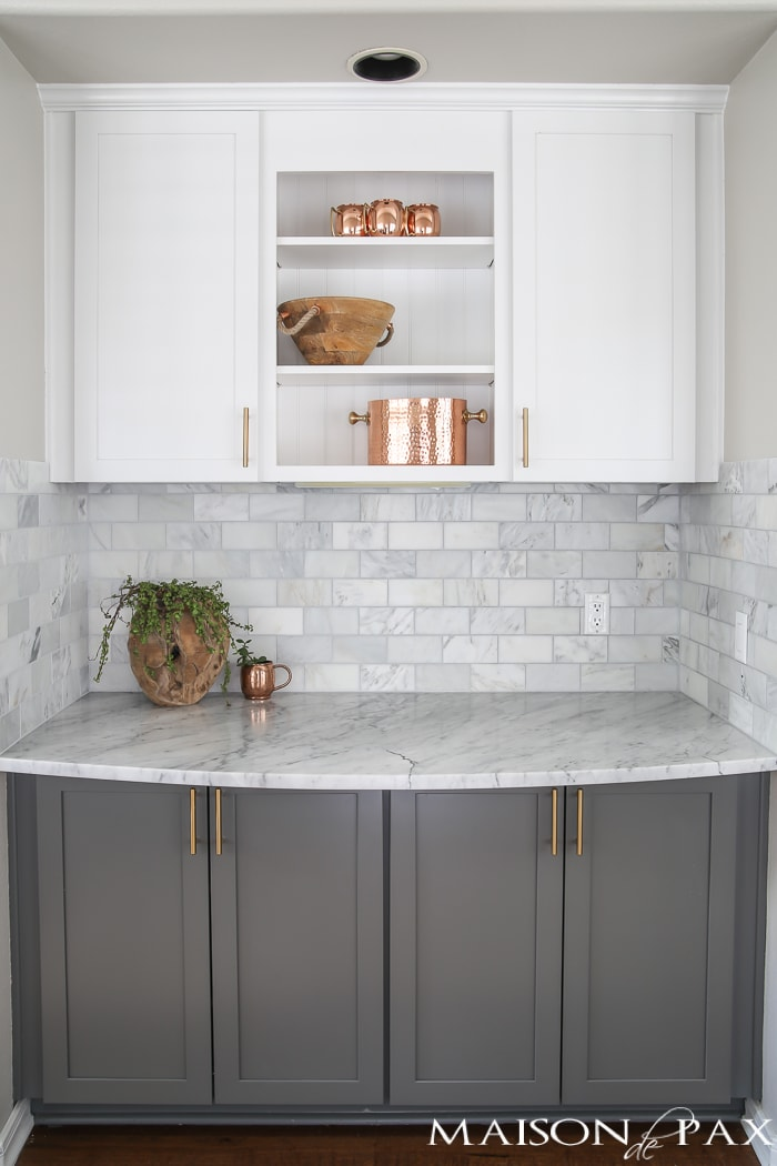 White kitchen cabinets with copper home accents- Maison de Pax