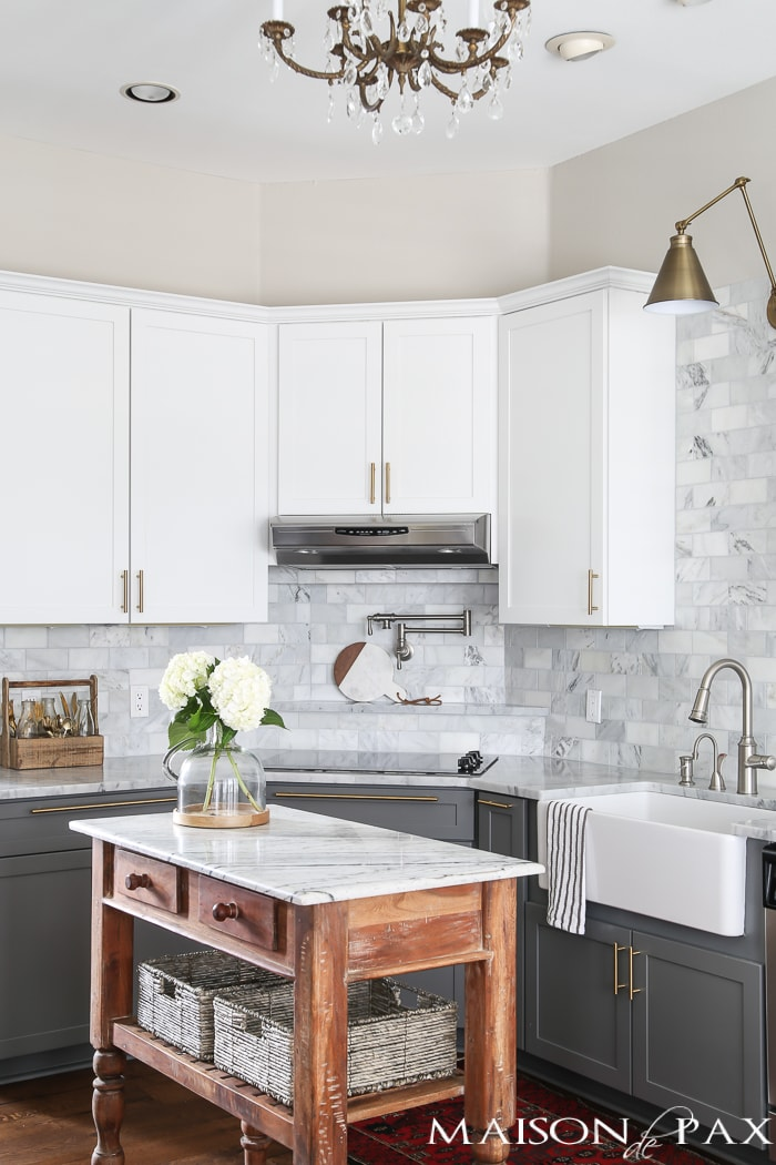 Two-toned gray and white cabinets- Maison de Pax