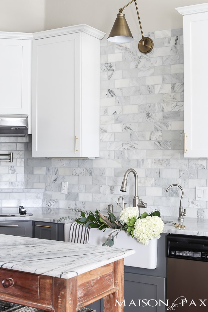 White and gray cabinets in modern farmhouse kitchen- Maison de Pax