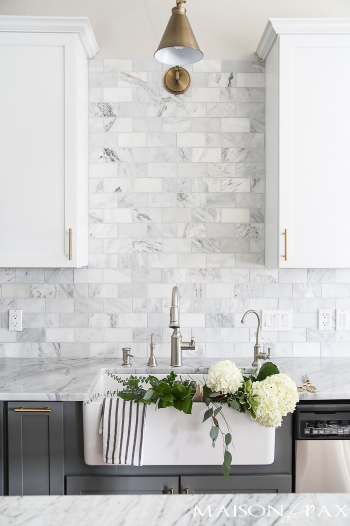 White kitchen with farmhouse sink- Maison de Pax
