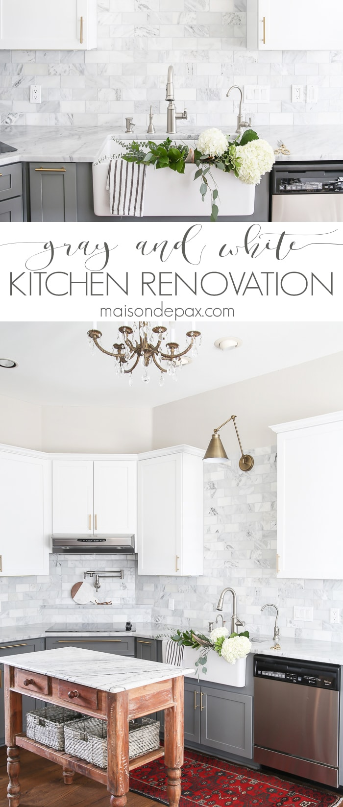 gray and white kitchen renovation
