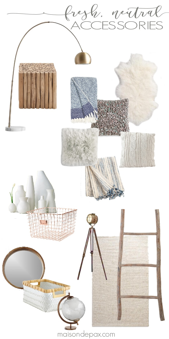 Warm whites and grays, natural wood tones, cozy textures, touches of metallics... All these fresh, neutral accessories can bring a soothing and clean ambiance to your spaces this year.