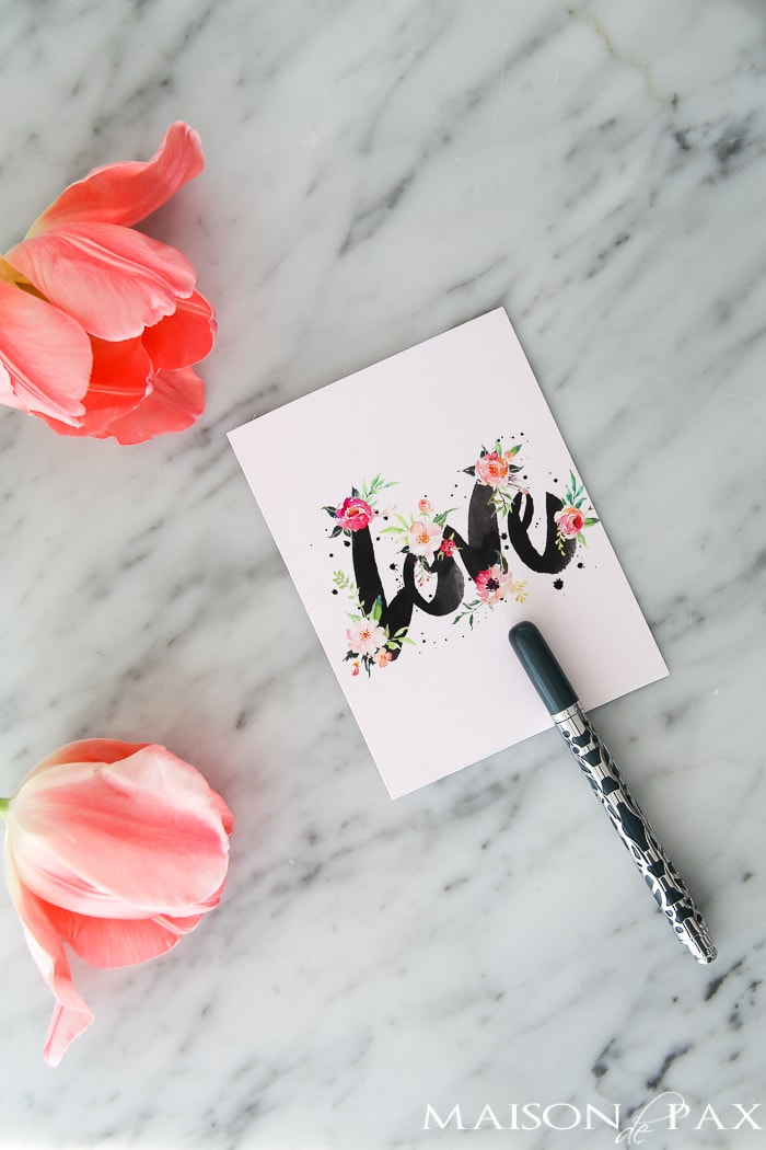 Love and floral art Valentine's Day Card- Maison de Pax