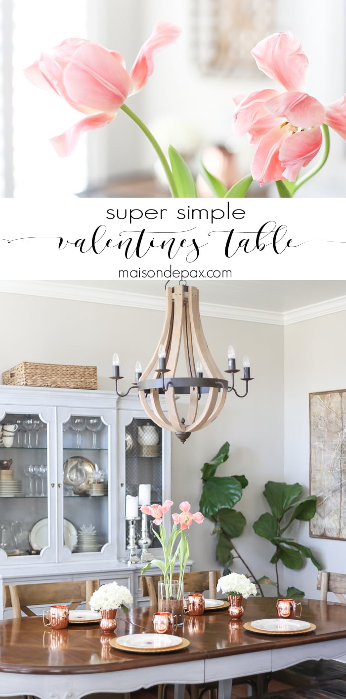 What a lovely, simple Valentines Day table! This pretty, simple tablescape would be perfect for any brunch, tea, or even snack to celebrate your loved ones...