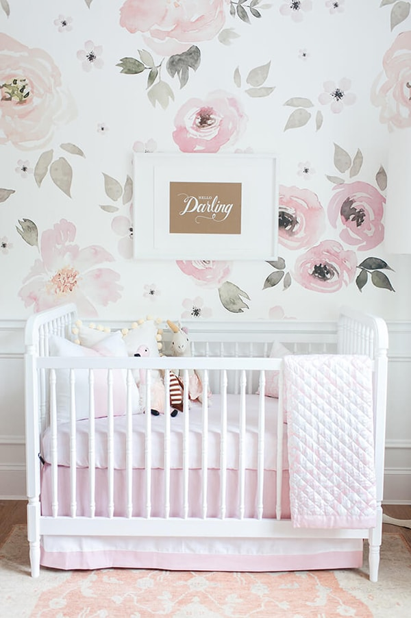 big rose wallpaper nursery- maison de pax