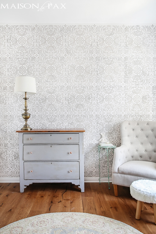 gray and white stencil nursery- maison de pax