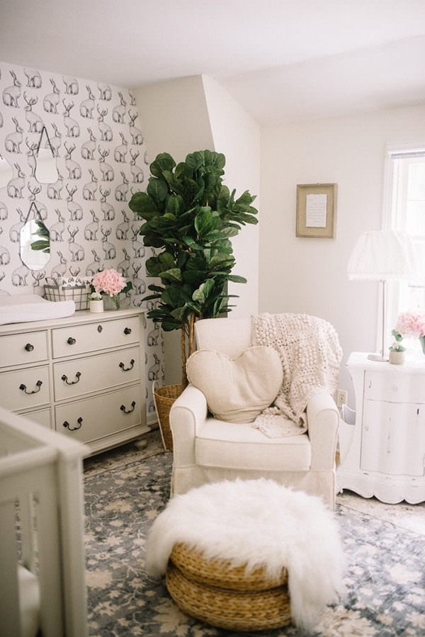 neutral nursery with fiddle leaf and fur- maison de pax