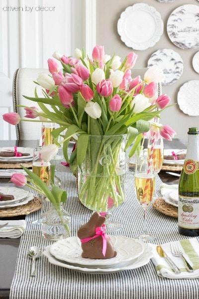 Pink and White Tulip centerpiece- Maison de Pax