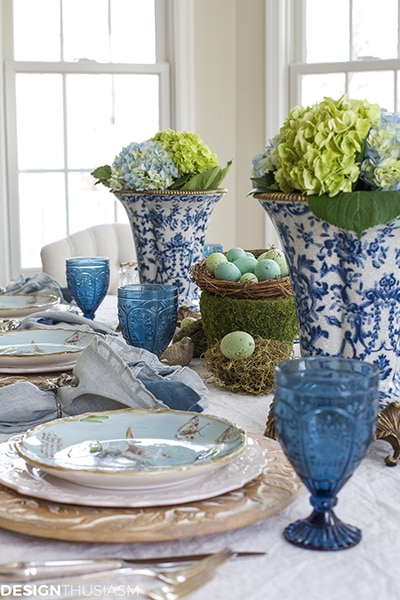 blue and white tablescape- Maison de Pax