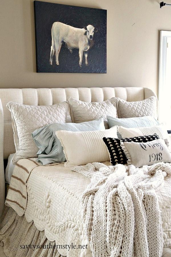 elegant farmhouse master bedroom