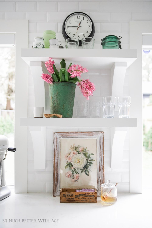 spring kitchen open shelves