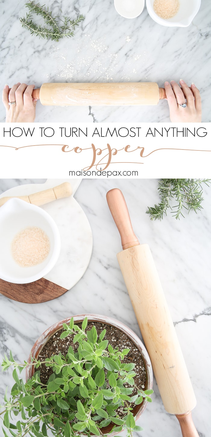Take a plain wooden rolling pin (or any kitchen accessory!) and turn it into something beautiful with this EASY diy copper tutorial!